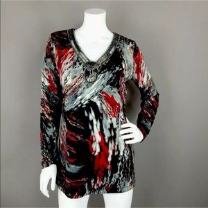 DANA BUCHMAN ABSTRACT TUNIC BLOUSE BEADED NECKLINE